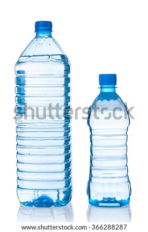 Two plastic bottles of water on white background