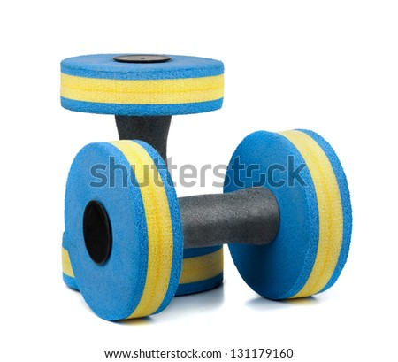 Two plastic dumbbells for water aerobics isolated on white - stock photo