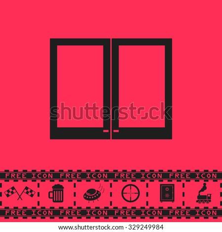 Two plastic Window. Black flat illustration pictogram and bonus icon - Racing flag, Beer mug, Ufo fly, Sniper sight, Safe, Train on pink background - stock photo