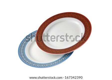 two plates isolated on a white background - stock photo