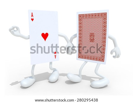 two playing card with arms and legs that walk hand in hand, isolated 3d illustration - stock photo