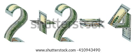 Two plus two equals four made of one hundred dollar banknotes. Isolated on white - stock photo