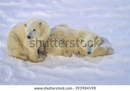Two polar bear cubs of the year on Arctic tundra,digital oil painting