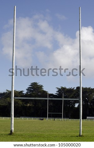 Two Poles of a Football / Rugby Goal field. - stock photo