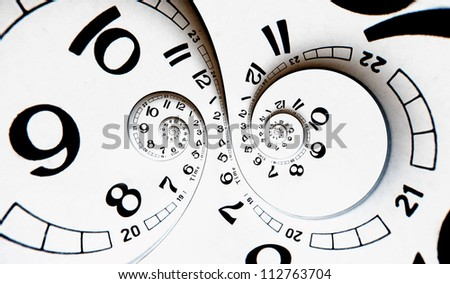 Two poles Twisted clock face. Time concept - stock photo