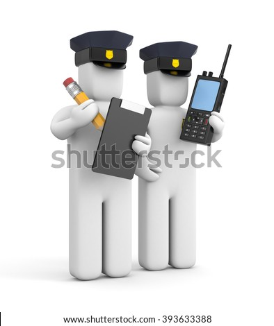 Two police officer one with clipboard and another with transmitter - stock photo