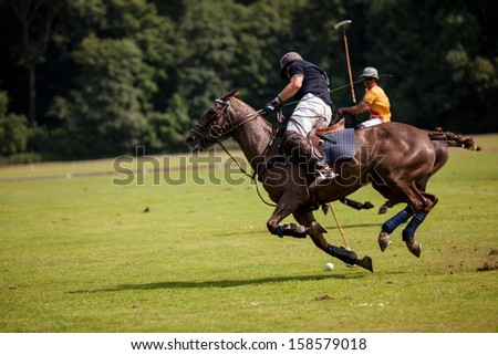 Two Polo Player are fighting in movement around the polo ball. - stock photo