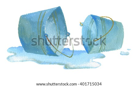 Two pool busket in puddleon white background