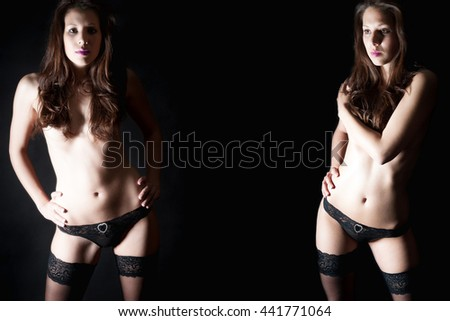 Two portraits of a beautiful woman in black panties and stockings in front of dark background, her private parts are not visible