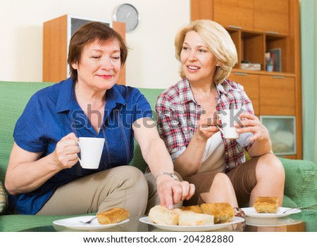 Two positive mature female friends drinking tea and gossiping at home - stock photo