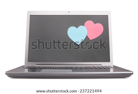 Two post-it notes covering laptop screen