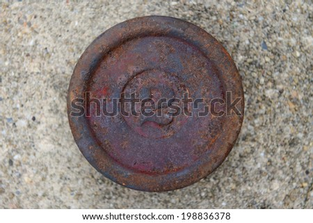 Two pound iron weight - stock photo