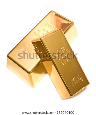 Two precious gold bars isolated on white background - stock photo