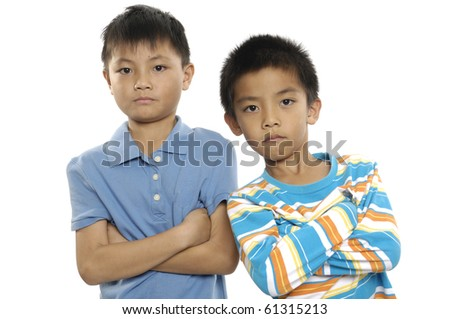Two preschool friend-hand posing �close up - stock photo