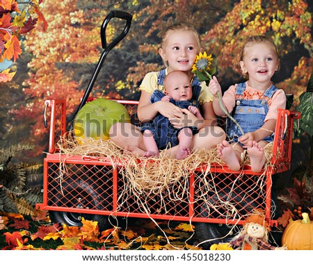 Two preschool sisters happily sitting in a hay-lined work wagon with their newborn baby brother.  They're surrounded by colorful fall foliage. - stock photo