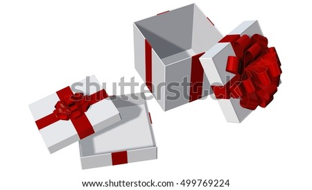 two Present boxes for Christmas or birthday with red ribbons and open lid isolated on white - 3d rendering