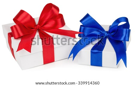 Two presents, with red, blue ribbon isolated on white background - stock photo
