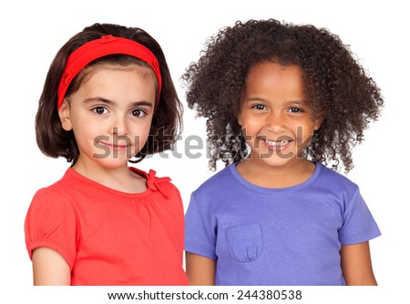 Two pretty girls isolated on a white background - stock photo