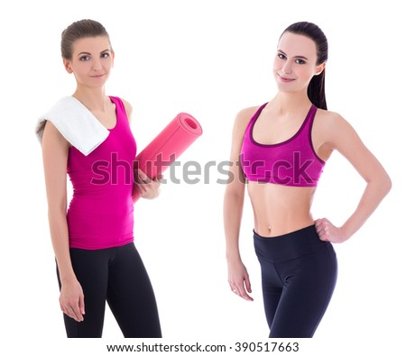 two pretty slim sporty woman isolated on white background