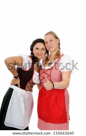 two pretty women in dirndl / munich beer festival