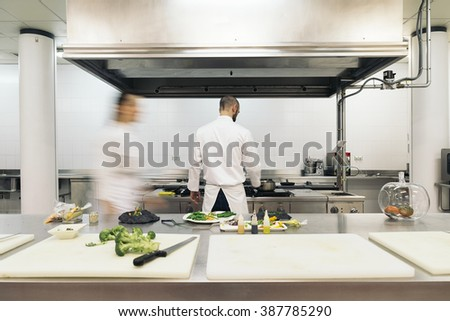 Two professionals chefs cooking together in a kitchen. - stock photo