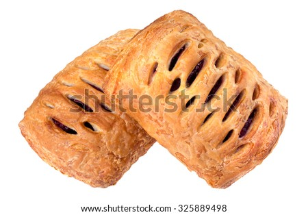Two puff pastry pies with jam - stock photo
