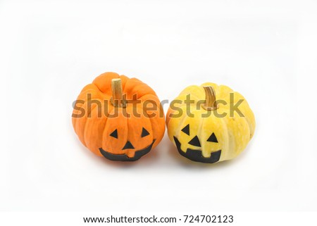 Two pumpkin with smiles emotion for Halloween day, on  white background.