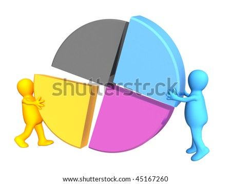 Two puppets collecting a palette CMYK - stock photo