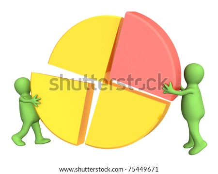 Two puppets, making the round diagram. Isolated over white - stock photo