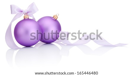 Two purple christmas balls with ribbon bow Isolated on white background - stock photo