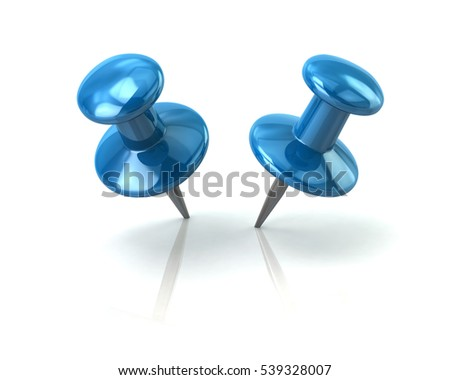 Two push blue pins 3d rendering on white background
