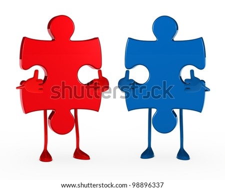 two puzzle figure thumbs up white background