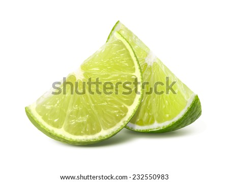 Two quarter lime pieces isolated on white background as package design element