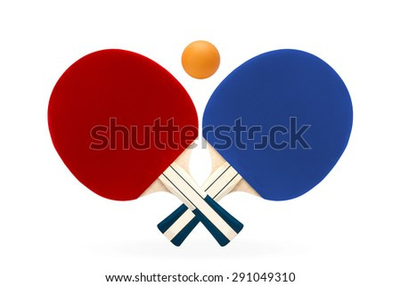 Two rackets for playing table tennis on white isolated background with clipping path.