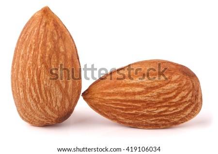 two raw peeled almonds close up macro - stock photo