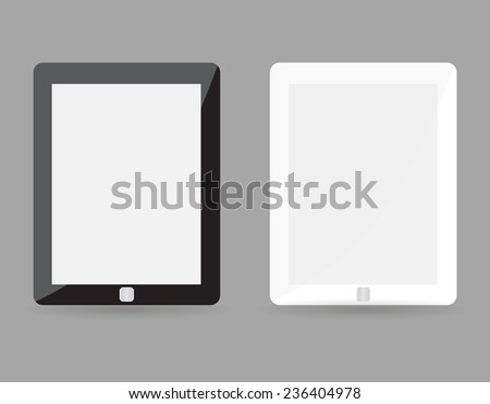 Two realistic tablet pc concept - black and white with blank screen. Highly detailed responsive realistic small tablet mockup isolated on gray background. illustration  - stock photo