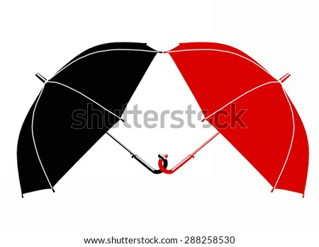 Two red and black umbrella on a white background isolation. Concept, symbol of protection, salvation, joy, love, care, support in business, finance, life in a relationship between man and woman - stock photo