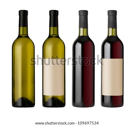 two  red and white wine bottles with blank labels, render. - stock photo