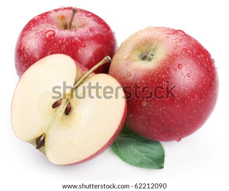 Two red apple with leaf and half of apple isolated on a white background. - stock photo