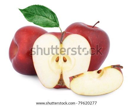 Two red apples and half. Isolated on a white background. - stock photo