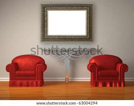 Two red chairs with metallic console and modern mirror in minimalist interior - stock photo