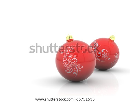 Two red christmas balls with curls on white background