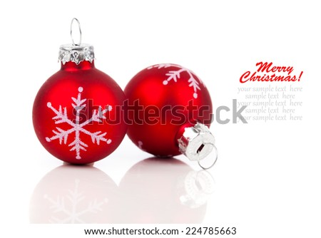 two red christmas decoration balls, isolated on white background