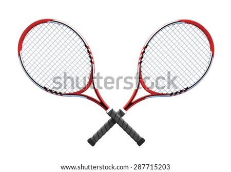 two red crossover tennis rackets tennis equipment sport theme rendering illustration