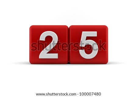Two red cubes with the number 25 in white embossed and bevelled digits to celebrate a twenty-fifth birthday, 3d render on white - stock photo