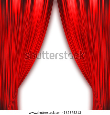 Two red curtains opening isolated on white