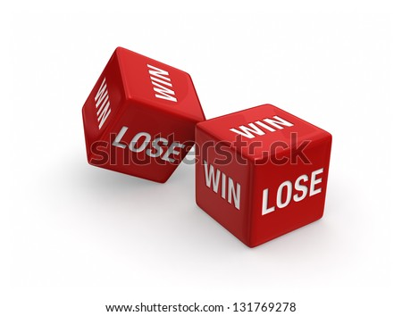 Two red dice engraved with WIN and LOSE on white background.