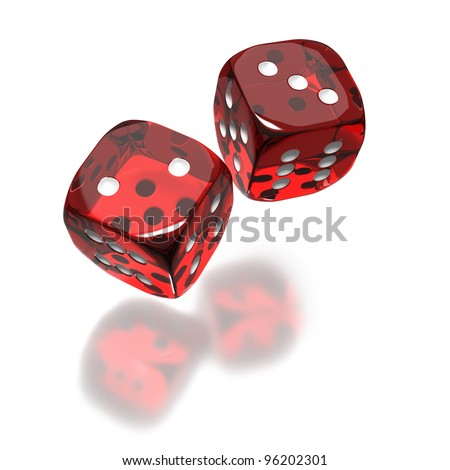 Two red dice flying in the air on white background