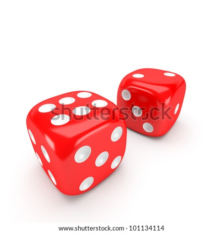 Two red dice on white background - stock photo