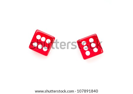 Two red dices against a white background - stock photo